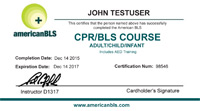 bls cpr certification card